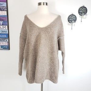 FreePpl wool blend v neck taupe oversized sweater